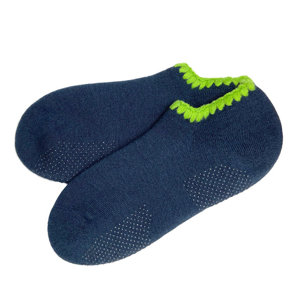 CHERRYSTONE® Slipper Socks with Grips | Size Large | Midnight Blue - CHERRYSTONE