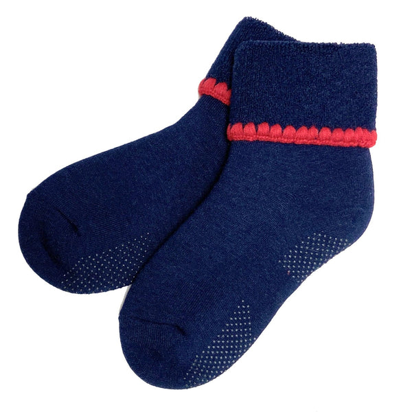 CHERRYSTONE® Slipper Socks | Turn Cuff with Grips | Navy - CHERRYSTONE