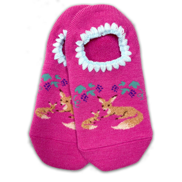 CHERRYSTONE® Slipper Socks | Animal Designs | Fox Family | Pink - CHERRYSTONE by MARKET TO JAPAN LLC