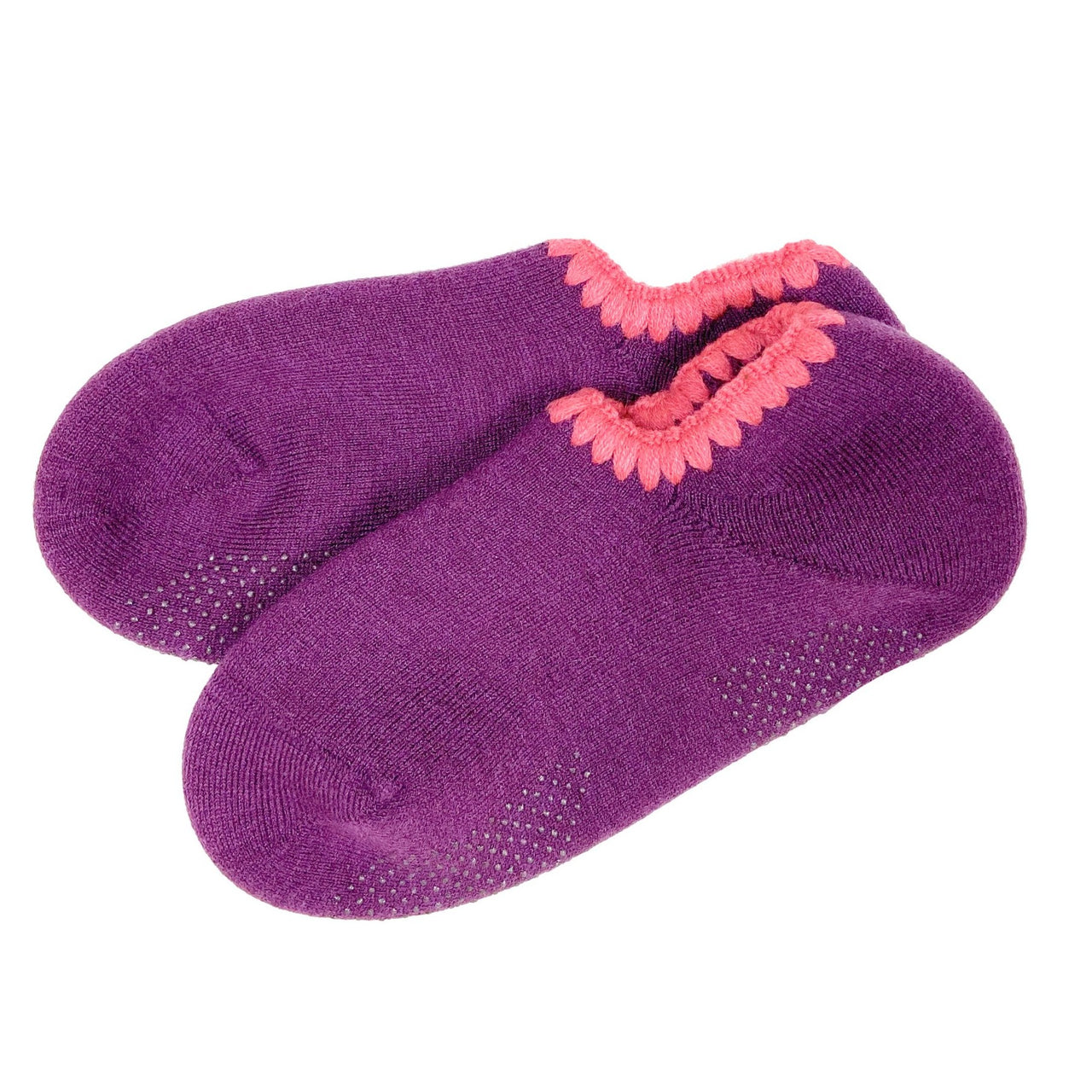 CHERRYSTONE® Slipper Socks | Classic Color with Grips | Purple - CHERRYSTONE