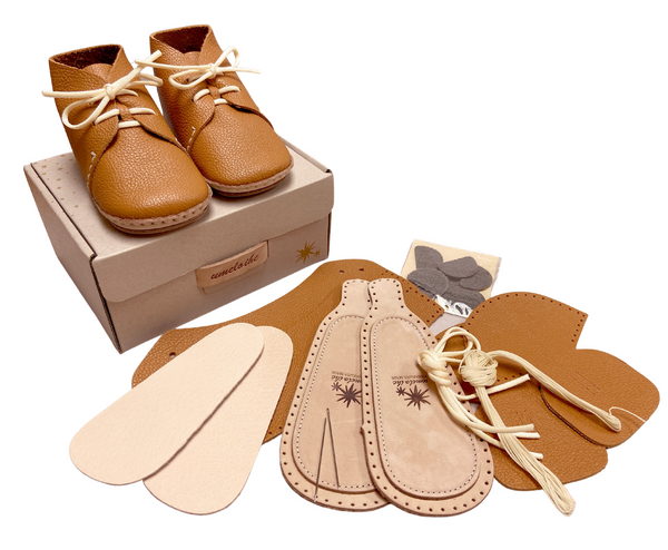 Baby's First Shoe Kit | DIY Complete Kit | with Laces | Camel | Size 12month (4.7inch) - CHERRYSTONE by MARKET TO JAPAN LLC