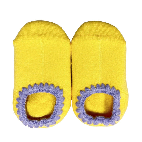 FOR KIDS | CHERRYSTONE® Slipper Socks | Candy Color with Grips | Lemon | 2-4T - CHERRYSTONE