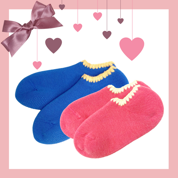 Giftwrapped! CHERRYSTONE® Slipper Socks Set of 2 Pairs | Valentine's Day Gift | 2 Pairs Classic Color with Grips | Pink and Cobalt Blue | His and Hers