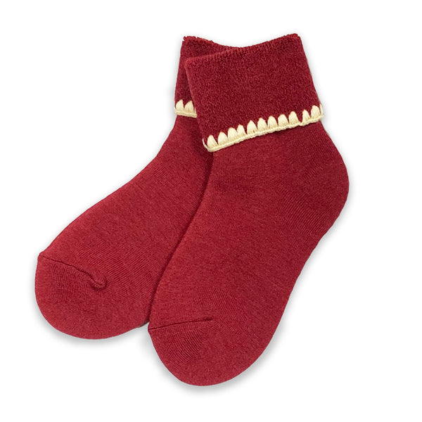 CHERRYSTONE® Slipper Socks  NO GRIPS | Turn Cuff | Wine - CHERRYSTONE by MARKET TO JAPAN LLC