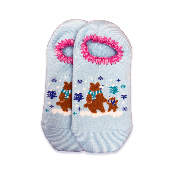 CHERRYSTONE® Slipper Socks | Animal Designs | Bear | Light Blue - CHERRYSTONE by MARKET TO JAPAN LLC