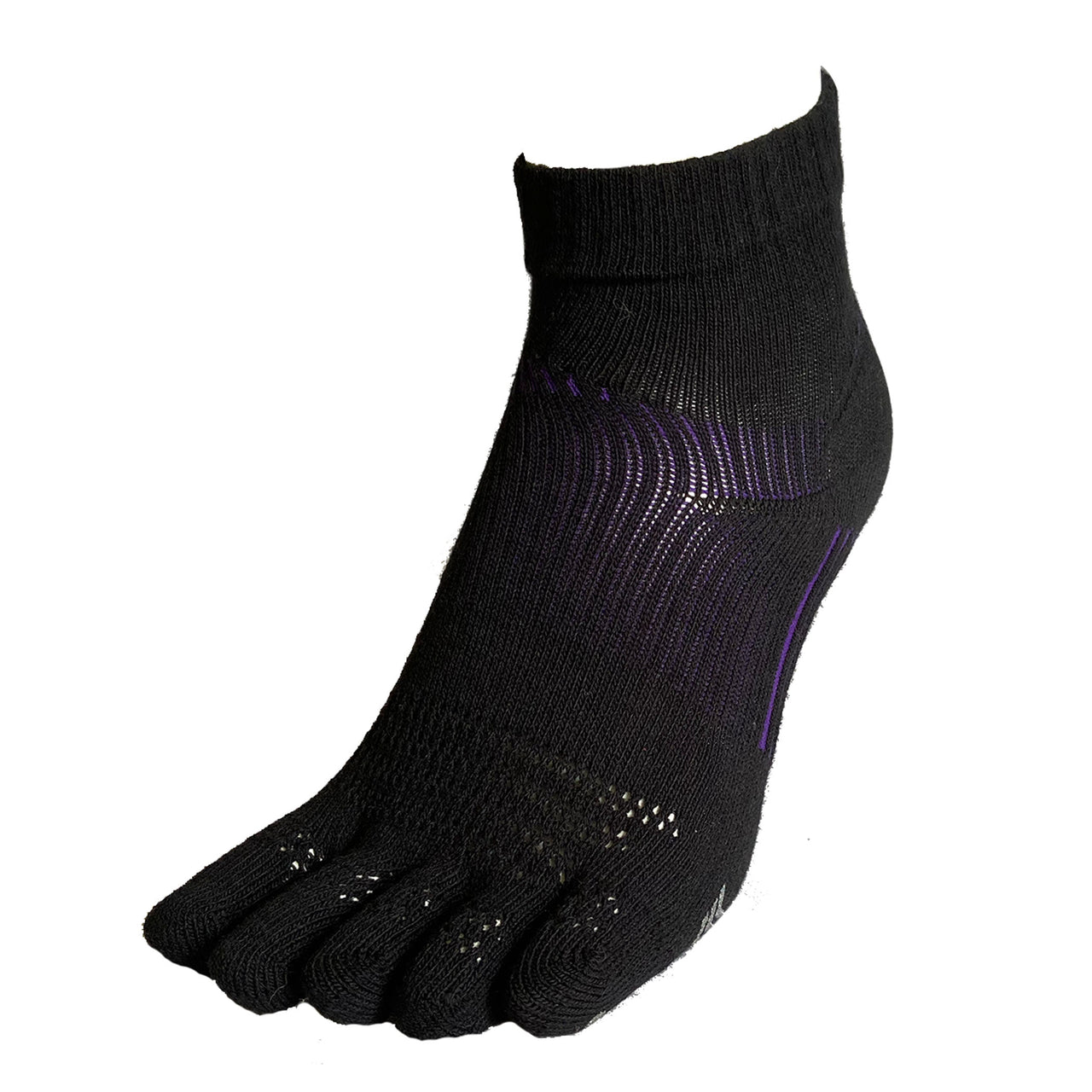 5 Toes Arch Support Ankle Running Socks with Grips for Women | Black - CHERRYSTONE