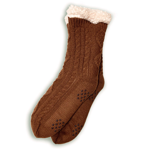 Plush Warm Crew Sock With Sherpa Boa Lining | Cable Knit | With Grips | Brown - CHERRYSTONE