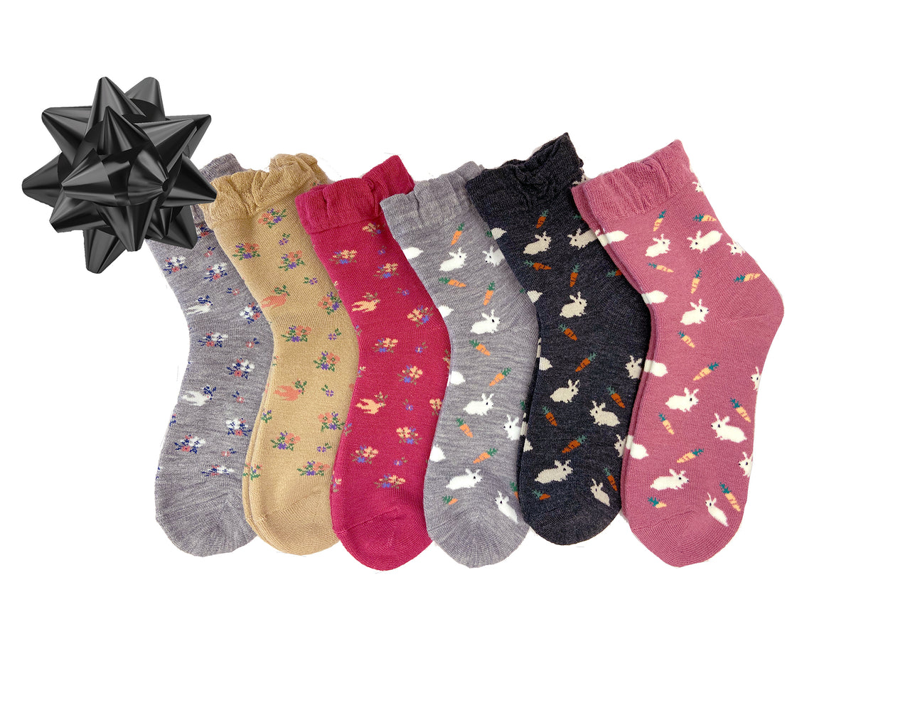 Pack of 6 Rabbit and Dove Patterned Women's Soft Knit Crew Socks - CHERRYSTONE by MARKET TO JAPAN LLC