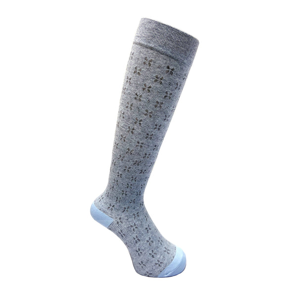 Everyday Knee High Compression Socks| Floral | Light Blue - CHERRYSTONE