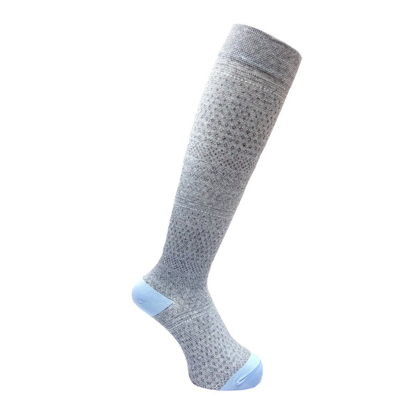 Everyday Knee High Compression Socks| Gradation Border | Light Blue - CHERRYSTONE by MARKET TO JAPAN LLC