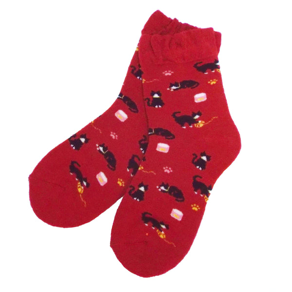 Soft Knit Animal Crew Socks | Black and White Tuxedo Cat | Red - CHERRYSTONE by MARKET TO JAPAN LLC