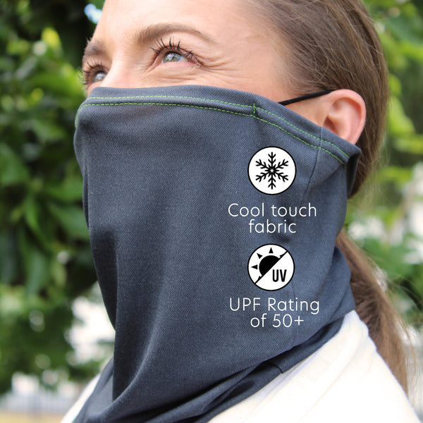 UPF 50+ Cool Dry Touch Neck Gaiter | Comfortable Ear Loops | Size Medium | Unisex | Island Gray - CHERRYSTONE by MARKET TO JAPAN LLC