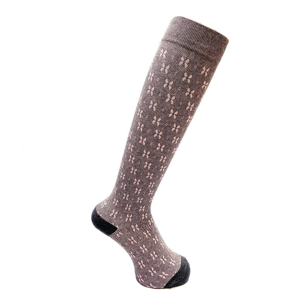 Everyday Knee High Compression Socks| Floral | Gray - CHERRYSTONE by MARKET TO JAPAN LLC