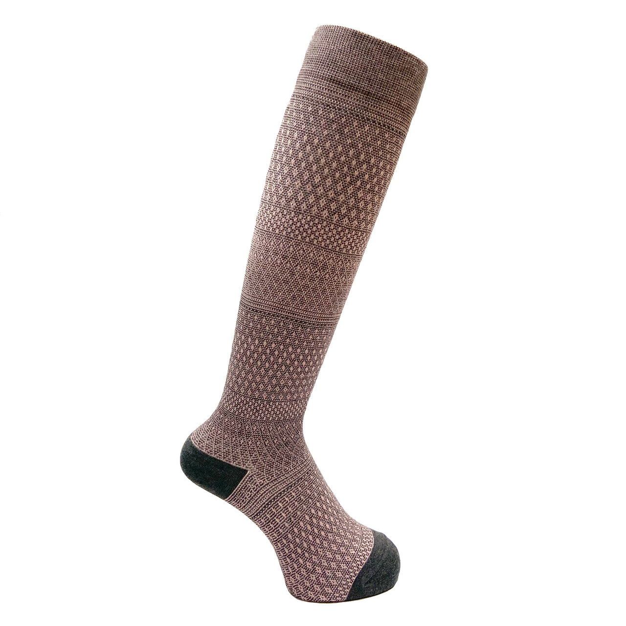 Everyday Knee High Compression Socks| Gradation Border | Gray - CHERRYSTONE by MARKET TO JAPAN LLC
