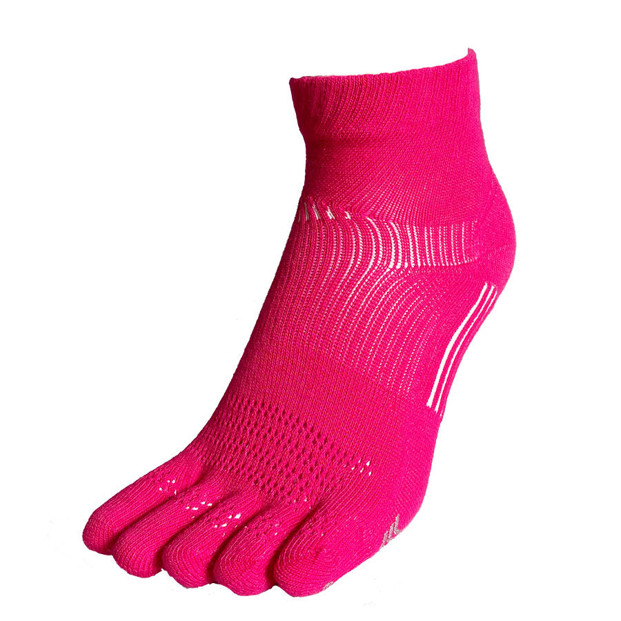 5 Toes Arch Support Ankle Running Socks with Grips for Women | Pink - CHERRYSTONE by MARKET TO JAPAN LLC