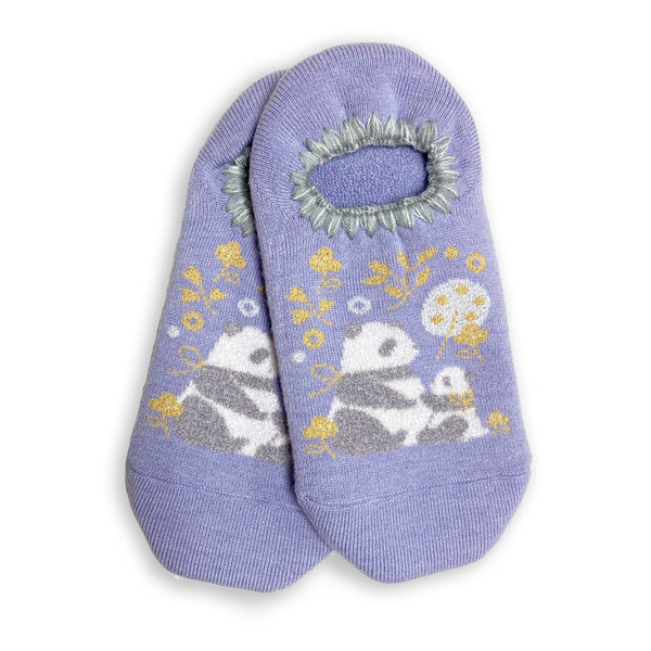 CHERRYSTONE® Slipper Socks | Animal Designs | Mom and Baby Panda Cub | Lavender - CHERRYSTONE