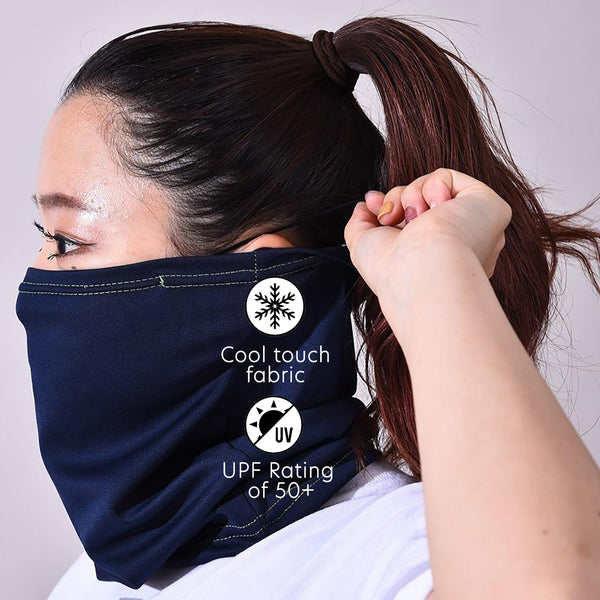UPF 50+ Cool Dry Touch Neck Gaiter | Comfortable Ear Loops | Size Medium | Unisex | Traditional Navy - CHERRYSTONE by MARKET TO JAPAN LLC
