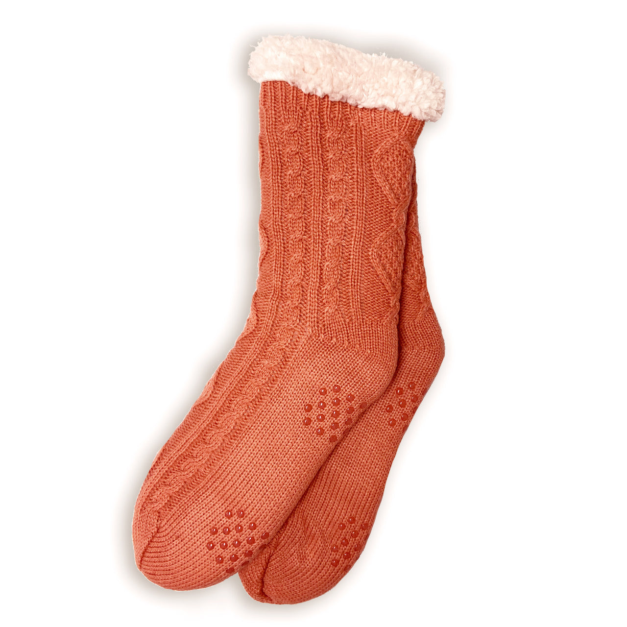 *PREORDER* Plush Warm Crew Sock | Cable Knit | With Grips | Orange - CHERRYSTONE