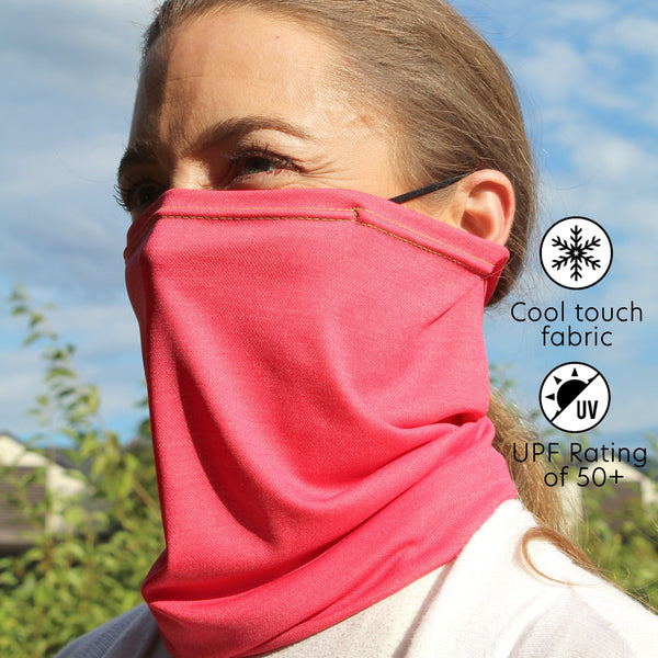 UPF 50+ Cool Dry Touch Neck Gaiter | Comfortable Ear Loops | Size Medium | Unisex | Boss Pink - CHERRYSTONE by MARKET TO JAPAN LLC