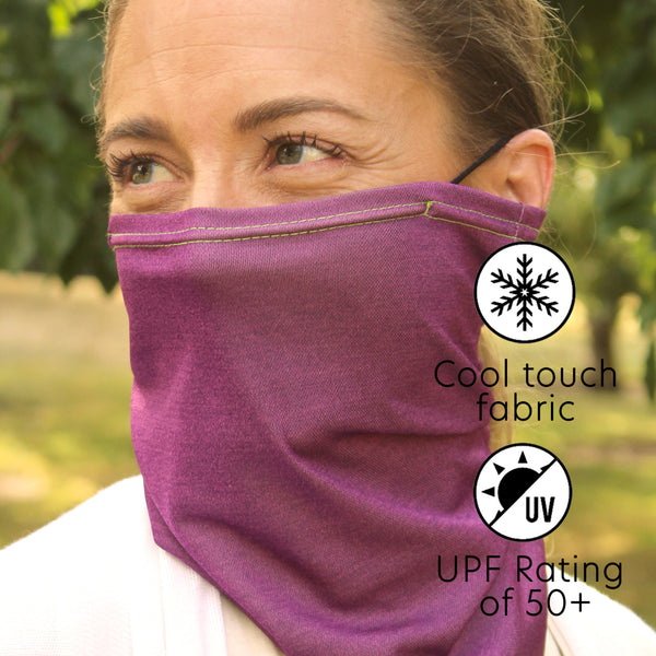 UPF 50+ Cool Dry Touch Neck Gaiter | Comfortable Ear Loops | Size Medium | Unisex | Proud Purple - CHERRYSTONE by MARKET TO JAPAN LLC