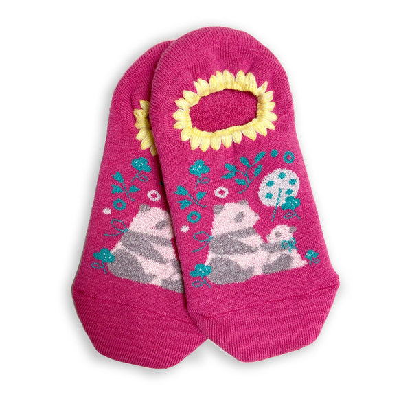 CHERRYSTONE® Slipper Socks | Animal Designs | Mom and Baby Panda Cub | Hot Pink - CHERRYSTONE