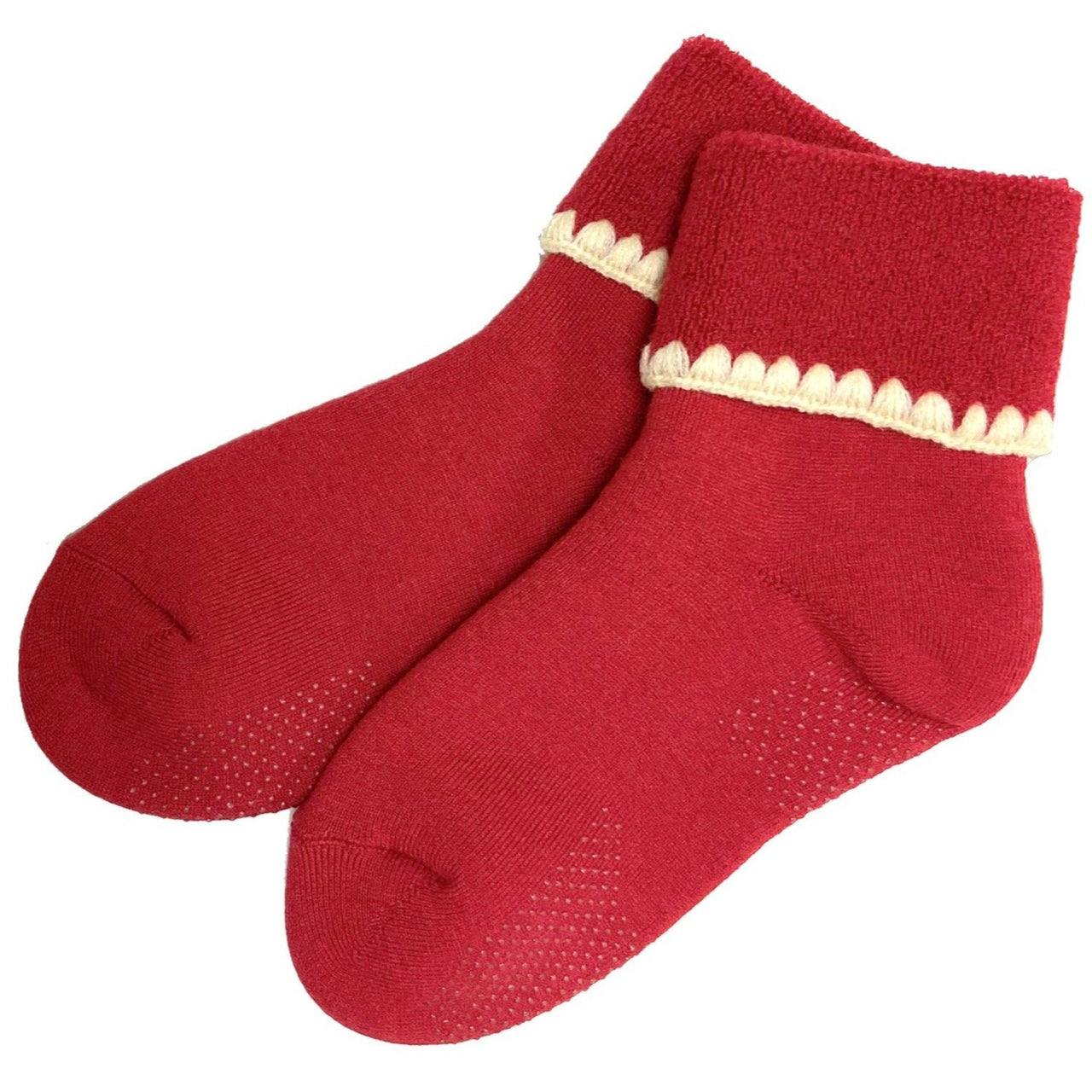 CHERRYSTONE® Slipper Socks | Turn Cuff with Grips | Red - CHERRYSTONE
