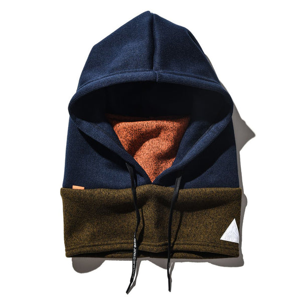 Outdoor, Warm Winter Hood Warmer Balaclava Ski Mask Unisex Neck and Face Gaiter Mask | Navy Blue and Orange - CHERRYSTONE by MARKET TO JAPAN LLC