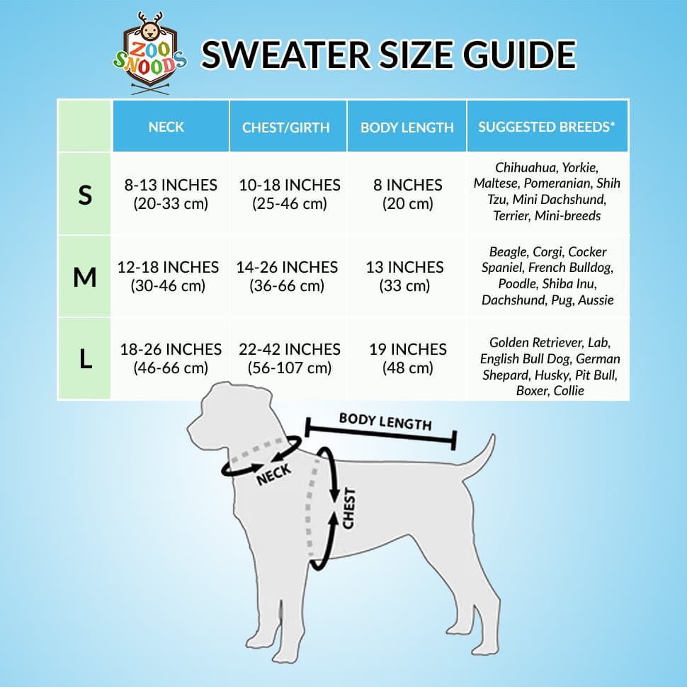 zoo sweater size guide