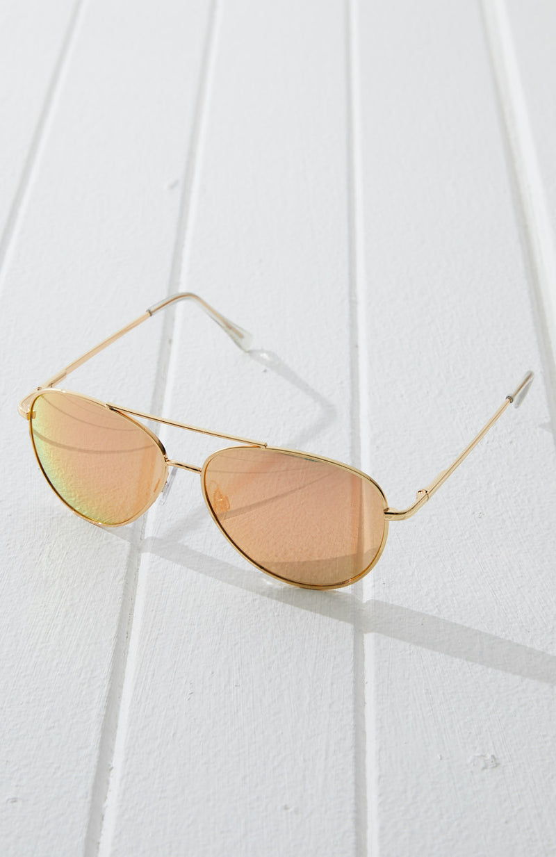 AS958001 Gold Aviator Sunglasses
