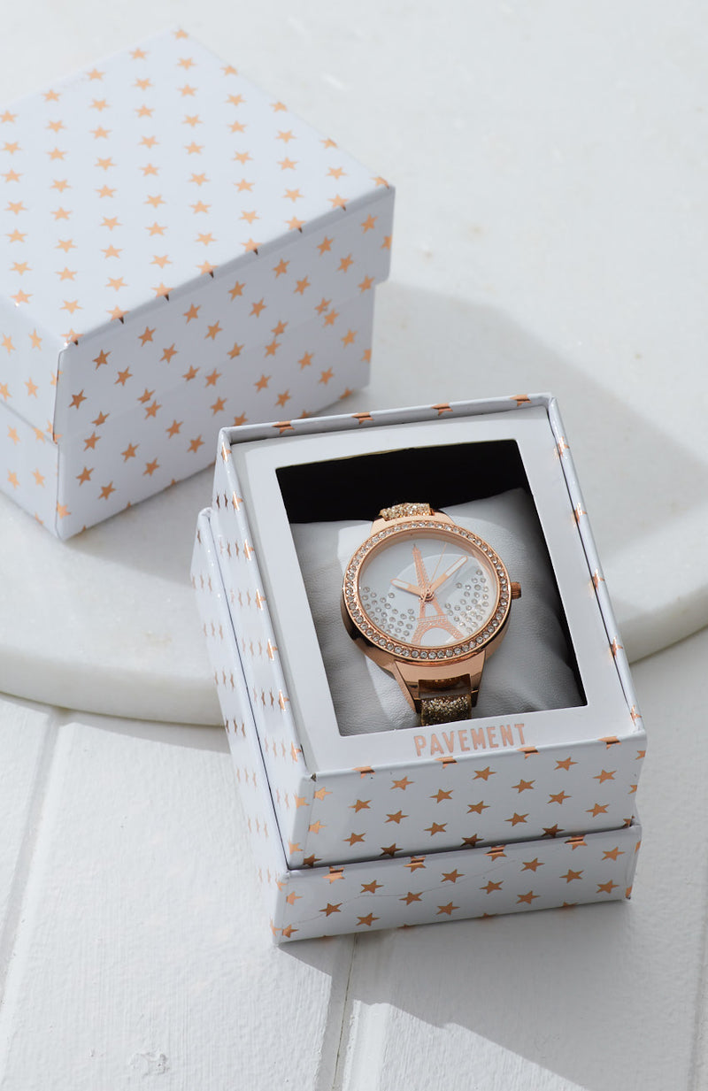 eiffel tower paris gold glitter watch