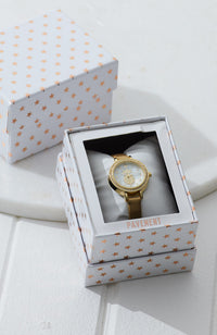 pineapple diamond metallic mini vegan leather watch