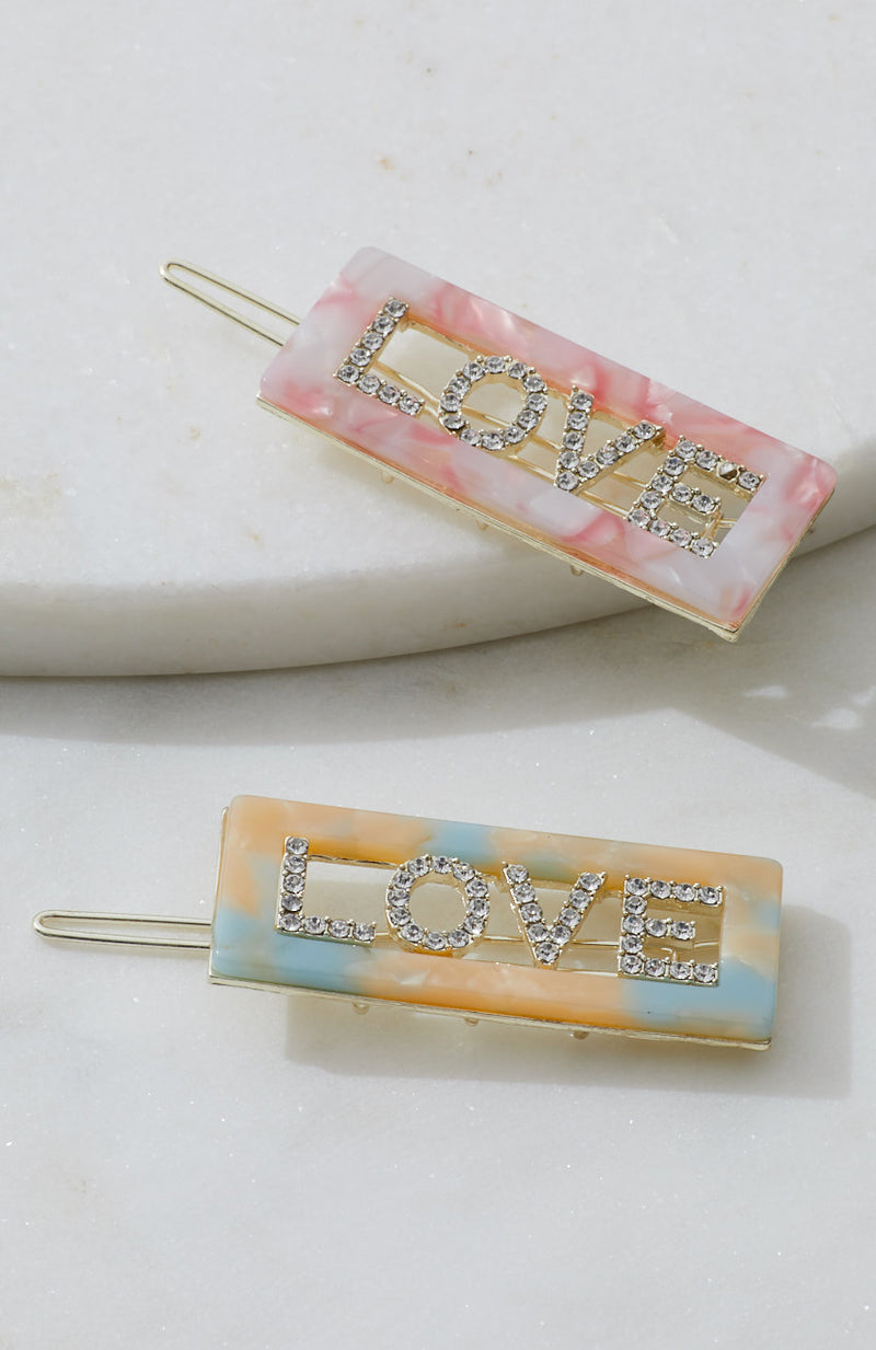 love diamond slogan pastel resin barrettes hair clip set