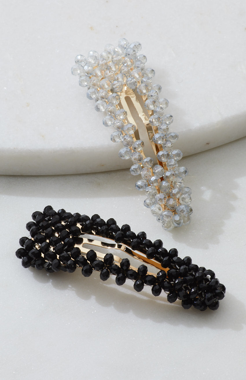 fashion week crystal beaded snaps barrette hair clip set