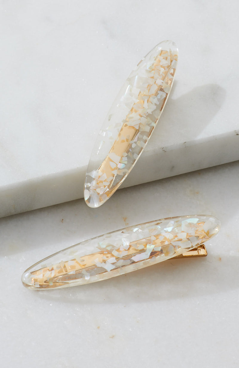shell glitter transparent resin slide hair clip set