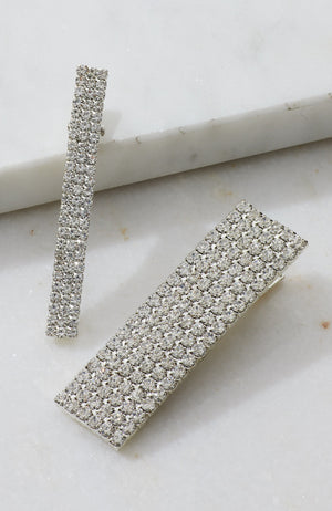 vintage diamond crystal party slide hair clip set