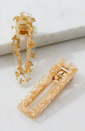 gold leaf transparent resin party slide hair clip set