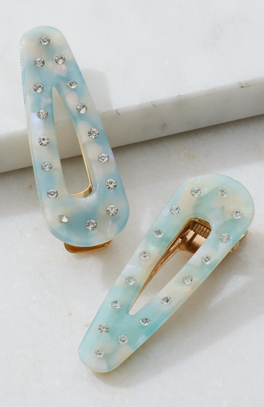 diamond polka dot pastel tort resin hair clip set