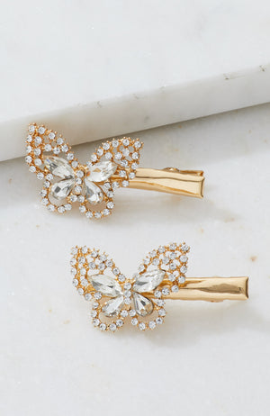diamond butterfly hairclip set