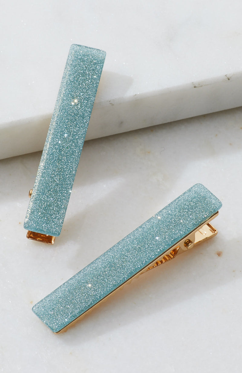 shimmer glitter resin party slides hair clip set