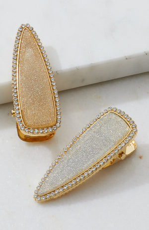 diamond glitter resin slides party hair clip set