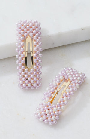 pearl beaded pastel party mini hair clip set
