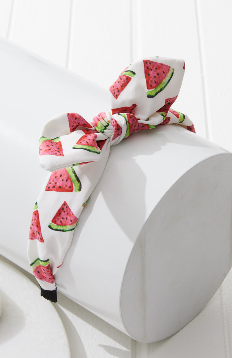 watermelon whimsical print pastel knot bow headband