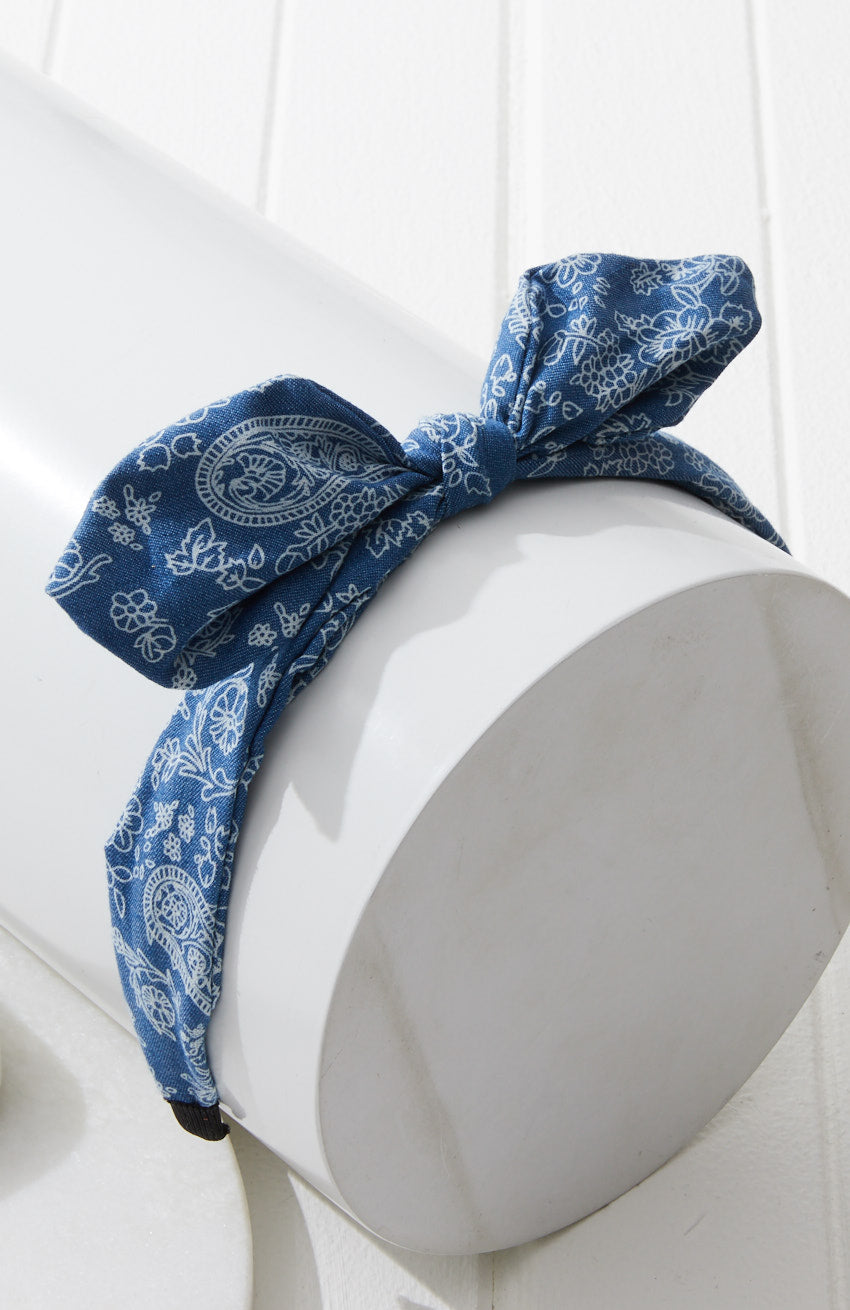 Chambray Paisley Printed Denim Bow Headband - Blue
