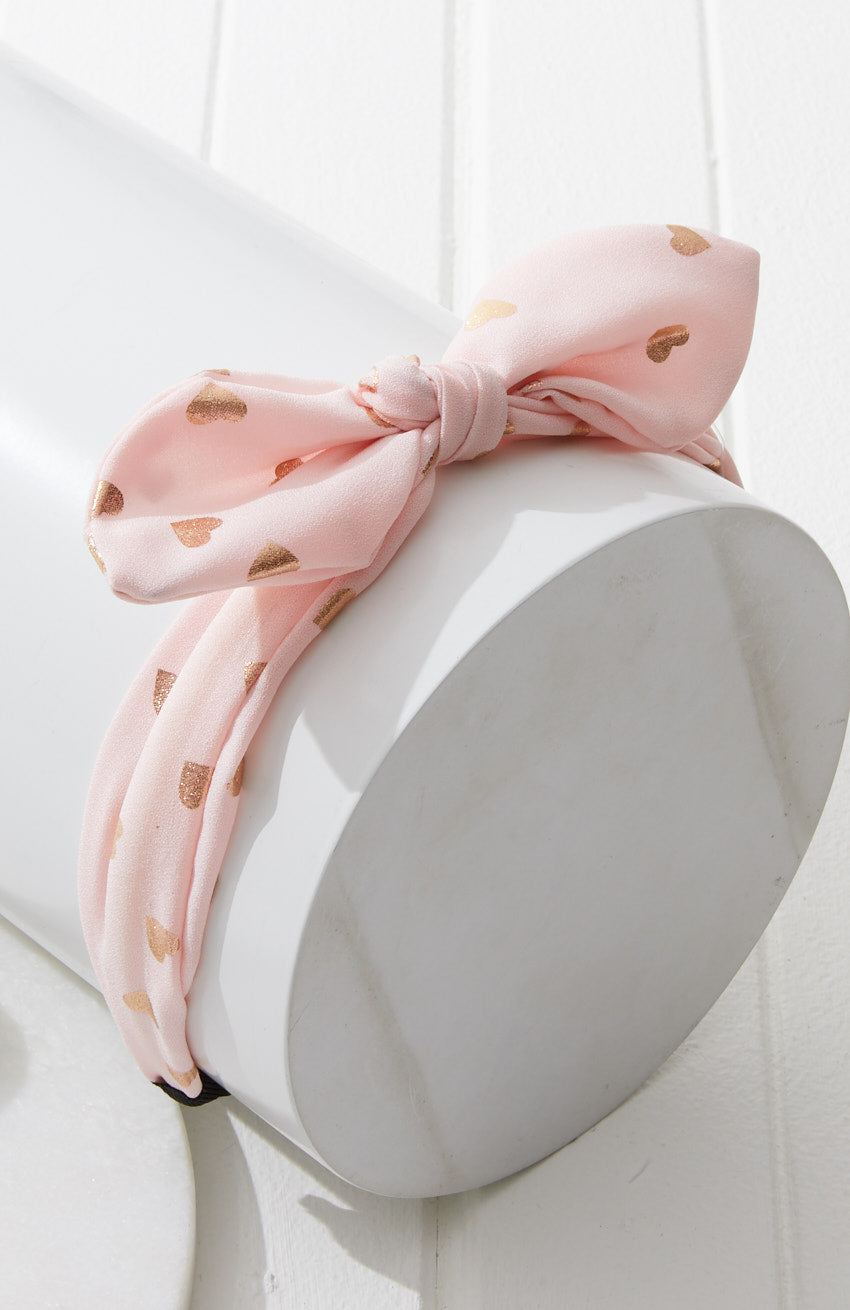 Heart of Gold Printed Hearts Bow Top Knot Headband