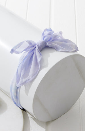 marble blue knot bow headband