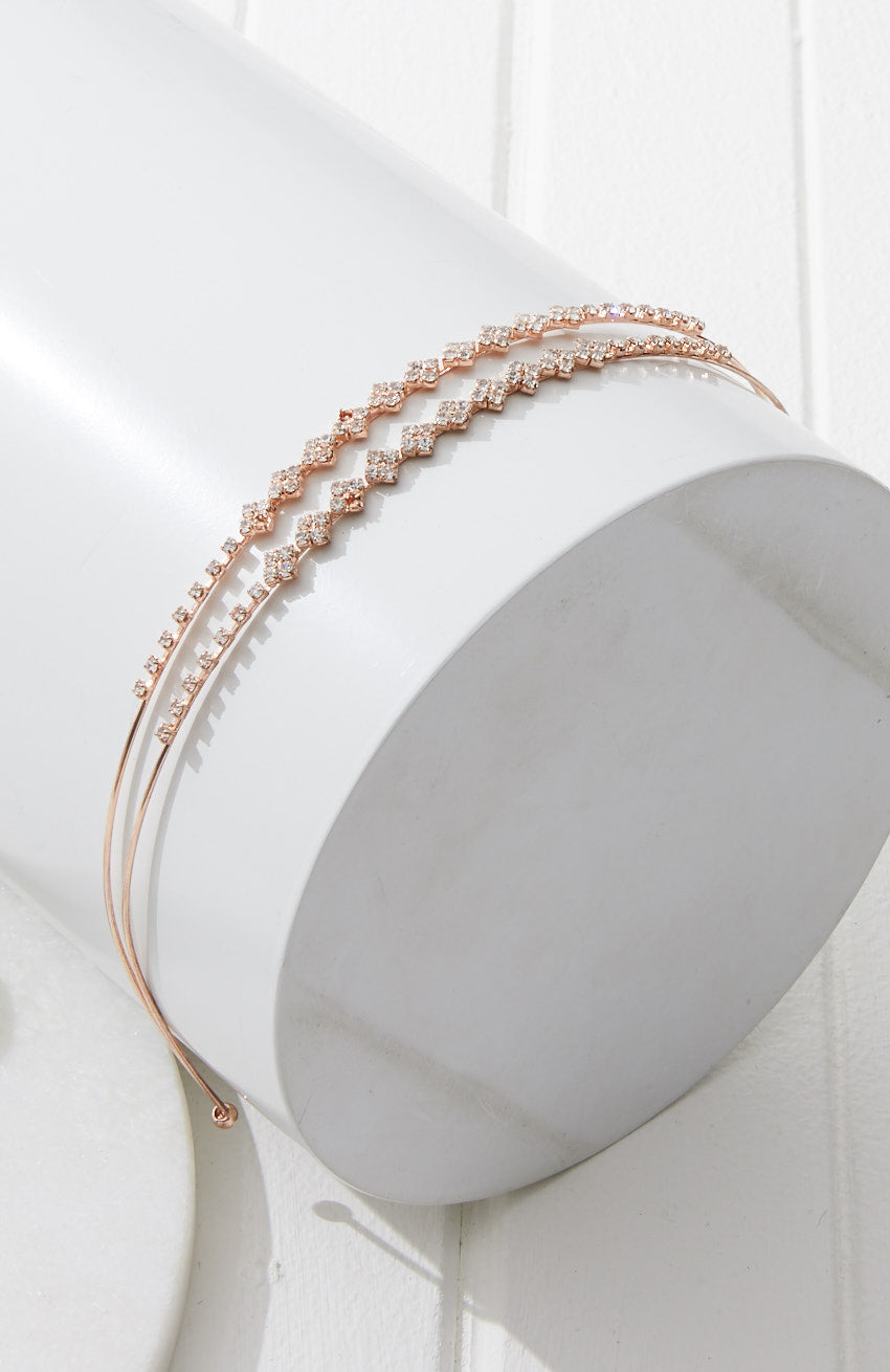 Flower Power Crystal Metal Headband - Rose Gold