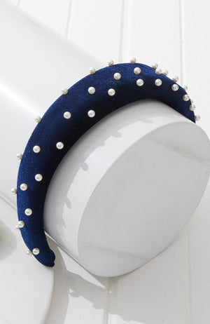 kate velvet pearl party padded alice headband