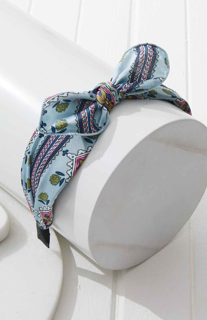 Paisley Print Satin Boho Top Knot Bow Headband