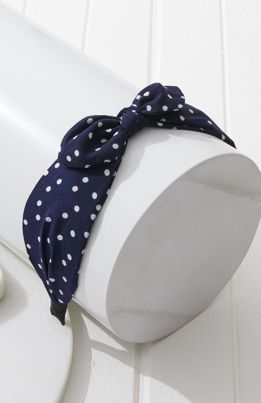 Polka Dot Navy Top Knot Bow Headband