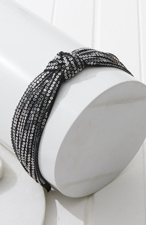 midnight sequin metallic silver top knot party headband